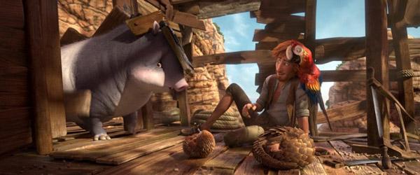 Animation på en ø med mange dyr