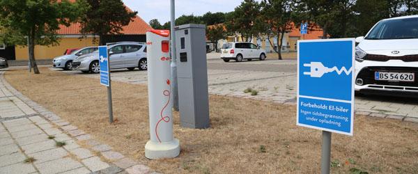 Flere steder i kommunen hvor man kan lade el-biler