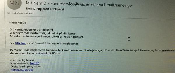 Pas på! Falsk Nem-ID mail i omløb